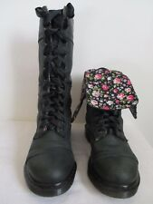 Dr Martens Triumph Boots 1914 Distressed Leather Floral Lined Dark Green Size 10