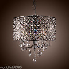 Elegent Crystal 4 Light Round Ceiling Chandelier Pendant Fixture Lighting Chrome