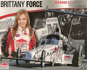 Brittany Force BRAND SOURCE 2009 TOP ALCOHOL NHRA 8x10 HERO CARD photo SIGNED