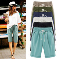 Womens Drawstring Linen Summer Casual Short Keen Long Pants High Waist Trouser~