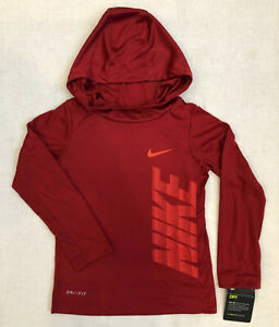Nike Little Boys Long Sleeve Hooded Dri-Fit Tee Pullover Sizes: 4XS, 5S, 6M