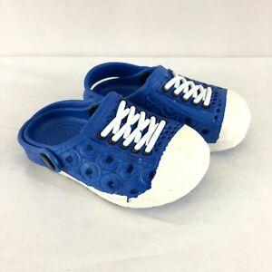 Toddler Boys Rubber Clogs Slip On Blue White Size 20 US 4