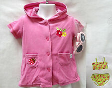 Wee Wave girl Infant LADY BUG Pink Swimsuit Cover Up robe Sunglasses set 12M NEW