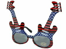 Electric Guitar Frame Rock Star Novelty Sunglasses Party Glasses Patriotic