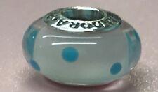 PANDORA | WHITE TEAL POLKA DOTS GLASS MURANO CHARM 790608 *NEW* RETIRED RARE 925