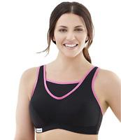 Glamorise Womens Full Figure Sports Bra 1066 Black/Pink Free Shipping 34DD NWT