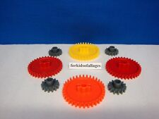 "KNEX GEARS Red Yellow Orange 2 1/4"" & Gray 1"" Gear Replacement Parts/Pieces Lot"