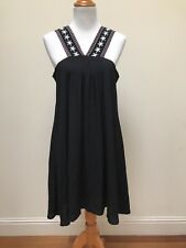 Cupcakes and Cashmere NWT $125 Black Embroidered Front Black Tassel Tie Dress M