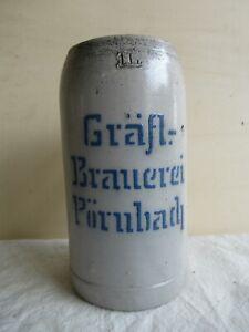 alter 1 Liter Keramik Bierkrug Gräfliche Brauerei Pörnbach
