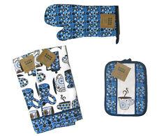 Kitchen Linen Set 2 Towels, Oven Mitt, Pot Holder Coffee Theme Blue Brown 4 pc