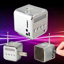 LCD Mini Lautsprecher Box MP3 Musik Player FM Radio USB Stick Micro SD Silber
