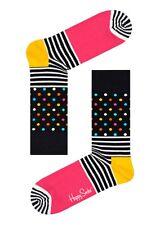 Happy Socks Black & Bright Stripes & Dots UK 7 - 11 Unisex Mens Cotton Sock Gift
