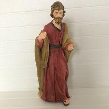 "Large Joseph Nativity Figurine Textured Hand Painted 12"""