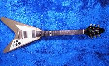 Burny LV-115KK L'Arc en Ciel KEN Flying V Guitar Gold Sparkle w/gigbag 8-12