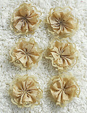 Fabric Flowers--- Hand Made--4 cm in Diameter---You get six flowers--