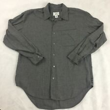 A/X Armani Exchange Mens L Large Gray 100% Rayon Button Down L/S Shirt
