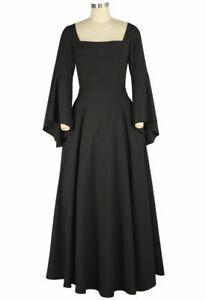ANT 79900 Mittelalter Gothic Kleid Schwarz lang Punk Rave Trompetenärmel