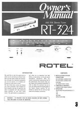 Rotel RT-324 Tuner Owners Instruction Manual