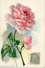 Fabric Block French Victorian Pink Rose Postcard on Fabric Vintage