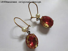 Art Nouveau Art Deco earrings watermelon Victorian vintage style short drop