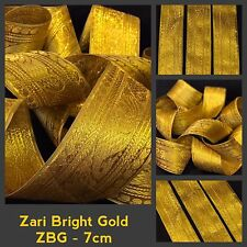 1 Yard Zari Gold Tape Ribbon Indian Sari Border Crafting Lace Fringe SewOn Trim
