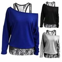 Women Lace Floral Splicing One Shoulder Long Sleeve Shirts Blusas