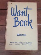 Rare Vintage MARSHALL-WELLS COMPANY ZENITH WANT BOOK Spiral Bound Book Duluth