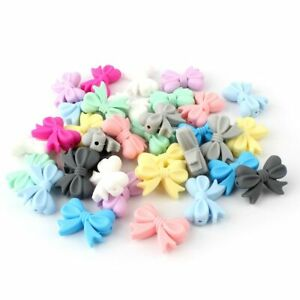 Bow Silicone Loose Beads Teether Bowknot Baby Teething Chew Necklace Toys Making