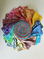 Batik Cotton Fabric Quilter Jelly Roll 40pc x 112cm x 6.35cm Rainbow Two Tones