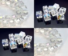 4/6/8 mm white AB Square Cube Cut Glass Crystal Loose Spacer Beads 30/50/60 pcs