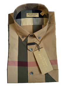 Burberry Men's Long Sleeve Check Casual Sport Fit Stretch Camel Shirt