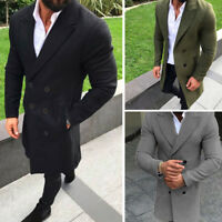 Men Double Breasted Trench Coat Winter Warm Long Jacket Wool Overcoat Outwear