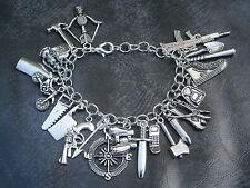 Zombie Charm Bracelet - Handmade - Zombie Apocalypse, The Walking Dead-23 Charms