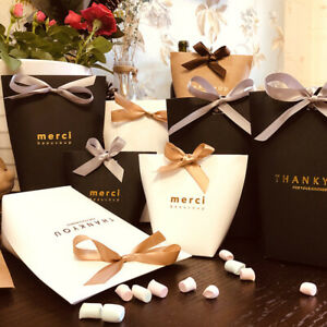 5pcs Merci Thank You Gift Bag Candy Packaging Wedding Gift Bag With Ribbons  