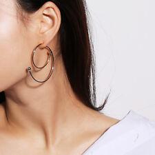 Morden Simple Geometric Stud Earrings Big Circle Hook Ear Studs Jewelry