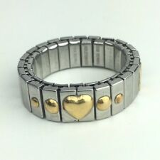 18K GOLD HEART & Stainless Steel Stretch RING Size 8 ZOPPINI Italy 750 Signed