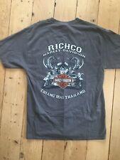 0473340a Harley Davidson T-Shirt Top Mens MEDIUM Gray Pocket Motorcycle Thailand  Richco