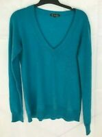 Loro Piana teal blue 100% cashmere v-neck sweater top women's size 44 Made Italy