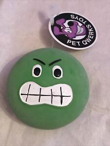 Pet Qwerks Green Face Round Squeaky Dog Toy