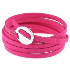 Fashion Leather Wrap Cuff Bracelet Multi Layer Punk Wristband for Women