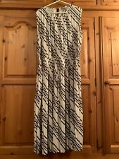 H&M  Black and White Striped Pleated Midi Dress  Size XL.