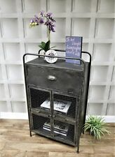 Industrial urban style metal cabinet storage cupboard sideboard unit tall 104cm