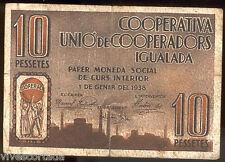 Coopérative Unio de Cooperadors de Igualada 10 Pesetas 1938 @ Manresa @
