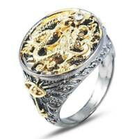 Chinese Dragon Carved Men's 18K Black Gold Plated Rings Party Punk Jewelry Gift