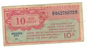 USA 10 cents Military Payment,  series 471. used, see scans.