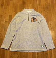 Chicago Blackhawks Quarter Zip Adidas Pullover Grey Size XL