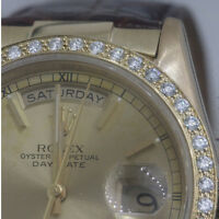 Custom Gold & Diamond Bezel That Fits Rolex Watches-For Presidents 18238 118238