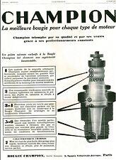 Publicité Ancienne  Voiture Bougie CHAMPION 1929