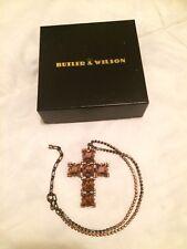 BNIB Butler & Wilson Smoky Quartz Crystal Cross crucifix pendant with extender