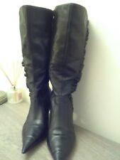Ladies,size 6.Dune,black leather,stiletto mid calf boot.Side frill trim.Full zip